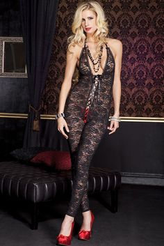 #MusicLegs   https://www.fifty-6.com/en/catalog/clothing/music-legs/lingerie/bodystocking-7 Cod.: ml1098 Bodystocking Romantic floral lace footless deep V bodystocking with lace up front detail Color: Black Sizes: One Size Material: 100% nylon