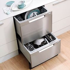 Two-Drawer Dishwasher or Just Two Dishwashers!    No more dishes in the kitchen sink! Load one while the other washes or just run a quick load of glasses. Two-drawer dishwashers are a favorite in kitchen cleanup. Install in addition to your regular dishwasher for double the dishwashing power. #kitchendishwasher
