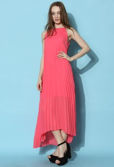 Chiffon Pleated Maxi Slip Dress in Hot Pink - Retro, Indie and Unique Fashion