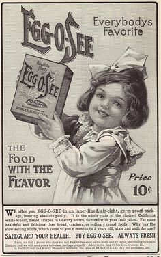 "1905 Egg-O-See cereal ad. Encouraged people to buy this brand over the ""slow selling kinds, which come to you 6 months to 2 years old, stale and unfit for use."""