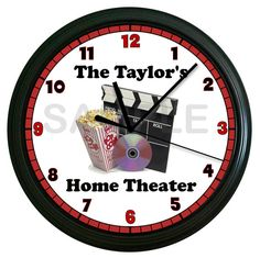 Personalized Movie Night Wall Clock Game Room Recreation Room Home Theater Wall Clock on Etsy, $14.99