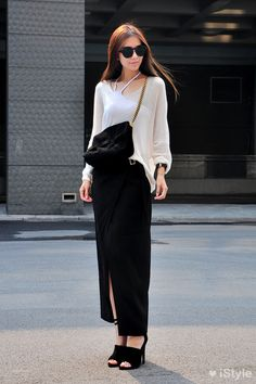 black maxi skirt and white blouse