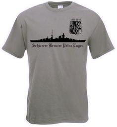 T-Shirt Schwerer Kreuzer Prinz Eugen in der Farbe oliv mit Emblem. Auf dem T-Shirt ist das berühmte deutsche Kriegsschiff Prinz Eugen abgebildet. / mehr Infos auf: www.Guntia-Militaria-Shop.de