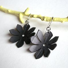 Black Daisy Earrings  eco friendly inner tube by Gloomstopper, $16.00