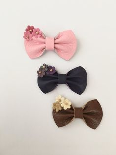 Mini Leather Flower Bows Brown Purple and Pink by KerleyGirls