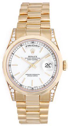 Rolex President Day-Date Men's 18k Gold Watch with Diamonds 118338
