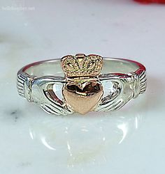 Hand Made Rose Gold Claddagh with silver band