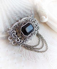 Blak jewel Swarovski hair clip gothic victorian by MidnightVision