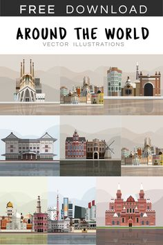Download free vector illustration of world's famous landmark at rawpixel.com Free Vector Illustration, Illustrations, Creative Banners, Creative Design, Icon Design, Design Set, Destinations, Silhouette Images, Graphic