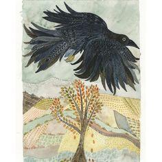 Art Print Crow Flying Over Farmland 5 x 7 inches by NatalieWargin