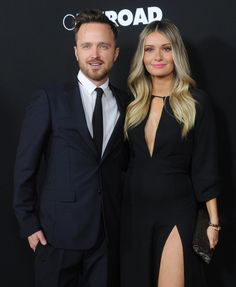 Pin for Later: Aaron Paul and Lauren Parsekian Almost Blind the World With Their Hot Red Carpet Date