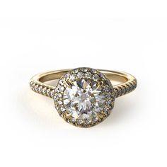 14k Yellow Gold Falling Edge Pave Diamond Engagement Ring