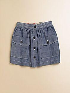 Burberry - Little Girl's Button-Front Chambray Skirt