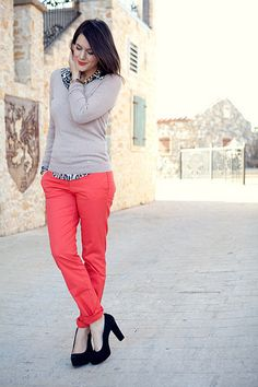 red pants, leopard layers