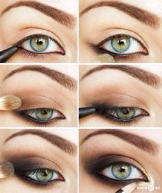 Make-up How To: Brown Smoky Eye. Nice pictorial, very straightforward- you don't need 10 different products/brushes to do this (contrary to the last photo). An eyeliner and a tri-tone shadow palette is more than enough! Pretty Eye Makeup, Makeup For Green Eyes, Simple Makeup, Best Makeup Tutorials, Best Makeup Products, Beauty Make-up, Beauty Hacks, Beauty Tips, Makeup Hacks