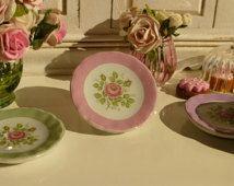 Vintage  Pink  Rose  Plate for Dollhouse