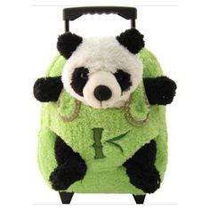 Kids Lime Rolling Backpack With Panda Stuffie -Affordable Gift for your Little One! Easy Animals, Plush Animals, Girls Rolling Backpack, Animal Backpacks, Cute Panda, Kids Outfits Girls, Backpack Purse, Panda Bear, Etsy Shop