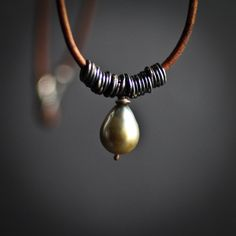 Cream to Silver Tahitian Pearl and Leather necklace