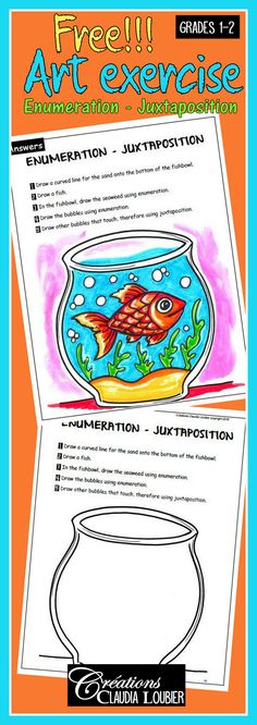 I am happy to share this free reproducible sheet to teach enumeration and juxtaposition. This exercise IS PART OF a collection of 13 exercises, covering all of the ART language in primary school. Grades 1-2