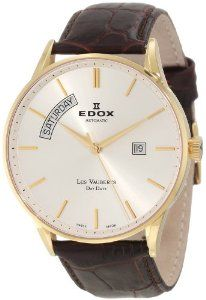 "Edox Men's 83010 37J AID Les Vauberts Automatic Gold PVD Silver Dial Leather Watch Edox. $1650.00. Second-hand feature with minute track. Water-resistant to 50 M (165 feet). Gold PVD coated stainless steel case. CONCATENATE(CO27,"";"","" "",CP27). Swiss automatic movement ETA 2834"