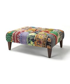 Yellow Leaves Kantha Square Bench  by Jennifer Taylor Home Covered in patches taken from carefully selected quilts,  38'' W x 18'' H x 30'' D Cotton /                     b