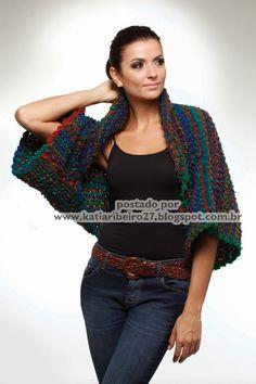 Katia Ribeiro Moda & Decoração Handmade: Casaqueto em tricô com receita e gráfico