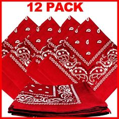 "$8.95 - Red Paisley Bandanas (12 Pack) 22"" x 22"" 100% Cotton"