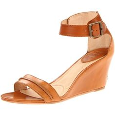 FRYE Women's Carol Seam Wedge Sandal ($258) ❤ liked on Polyvore featuring shoes, sandals, ankle strap wedge sandals, frye, ankle wrap sandals, ankle strap shoes and ankle tie shoes
