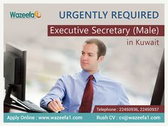 "Urgently Required Executive Secretary in Kuwait. Male candidates are Preferred. ""Applicant must be residing in Kuwait""  Apply Online on http://ift.tt/2bi2cgt  #JobsinKuwait #KuwaitVacancies"