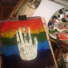 "44 Likes, 1 Comments - @lbv_b on Instagram: ""🖤🌈 #love #songofmyheart #myart #oil #oilpainting #art #tlv #tlvculture #tlvdaily #saintp…"""