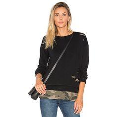 Generation Love West Camo Sweatshirt ($170) ❤ liked on Polyvore featuring tops, hoodies, sweatshirts, sweaters & knits, generation love, camouflage sweatshirt, camouflage top, double layer top and camo sweatshirts