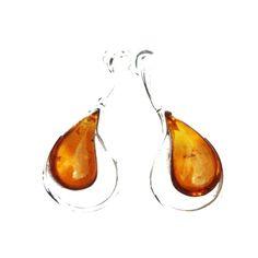 Designer Cognac Amber Teardrop Earrings with elegant large amber pieces set in sterling silver. #teardrops #teardropearrings #teardropjewellery #teardropamber #teardropsilver #elegance #elegantjewellery
