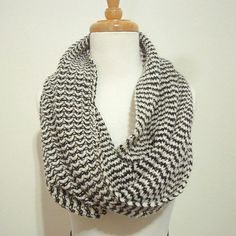 Merino Cashmere Infinity Scarf for Men or Women in Black & White, Knit Cowl. $60.00, via Etsy.