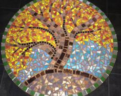 mosaic patterns for beginners | UPcycled mosaic round table. Original art design; Tree of life. Autumn ...