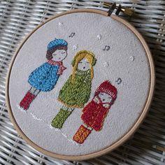 carol singers hand embroidery pattern PDF by LiliPopo on Etsy, £2.50