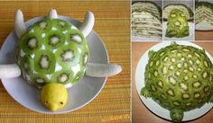 Playing with food :: Time to Try This Yummy and Healthy Turtle & banana Fruit Cake Kiwi, Banana Fruit, Perfect Party, Caramel Apples, Turtle, Birthday Parties, Paleo, Sweets, Vegan
