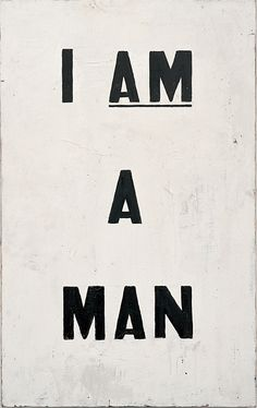 Glenn Ligon (b. 1960), Untitled (I Am a Man), 1988. Oil and enamel on canvas. 40 × 25 in. (101.6 × 63.5 cm). Collection of the artist © Glenn Ligon; photograph by Ronald Amstutz