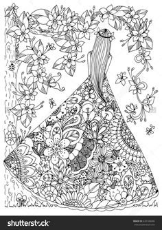 Girl In A Floral Dress Doodle Flowers Tree Zen Coloring Page Davlin Publishing
