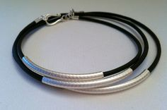 Steling Silver and Leather Wrap bracelet by Jennasjewelrydesign