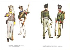 """Prussian Infantry at Waterloo L to R  Private 2nd Battalion 18th Regiment, Private 31st Regiment, Officer Silesian """"Schutzen"""" Battalion & Private Volunteer Jaeger Company 7th Regiment"""