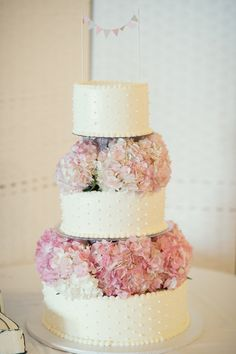 #cake-toppers, #hydrangeas  Photography: Robert & Kathleen Photographers - robertandkathleen.com Floral Design: Bayport Flower House - bayportflower.com  Read More: http://stylemepretty.com/2013/07/31/long-island-wedding-from-robert-kathleen-photographers-3/