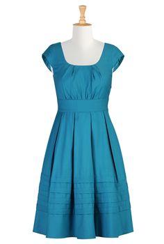 Pleated twill dress in Swedish Blue