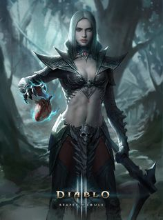 necromancer by zachary zhang concept & splash artist at gameloft Diablo Characters, Fantasy Characters, Female Characters, Fantasy Girl, Dark Fantasy, Character Concept, Character Art, Diablo Cosplay, Diablo Game