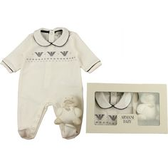 Armani Baby Boys Ivory & Navy Velour Babygrow & Chick Rattle In A Gift... ($140) via Polyvore