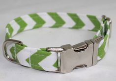 Personalized Chevron Fabric Dog Collar with metal by MBEmbroidery, $23.50
