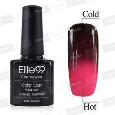 ELITE99 TEMPERATURE THERMAL COLOUR CHANGING SOAK OFF UV LED GEL NAIL POLISH 10ML