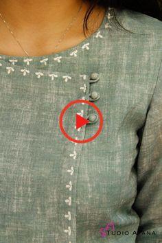 Salwar Suit Neck Designs, Neck Designs For Suits, Kurta Neck Design, Kurta Designs Women, Dress Neck Designs, Sleeve Designs, Kurti Sleeves Design, Hand Embroidery Videos, Kurti Designs Party Wear