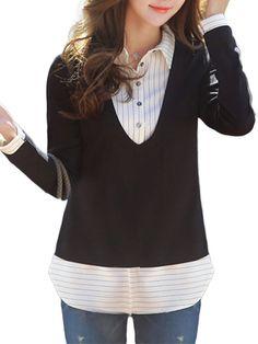 [US$42.38] Velvet Thick Stripe Patchwork Long Sleeve Lapel Loose Women Blouse #velvet #thick #stripe #patchwork #long #sleeve #lapel #loose #women #blouse