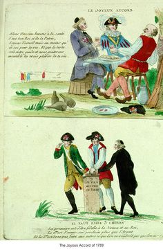 The happy accord of 1789 between the three orders. After October 1789, many images emphasized agreement and unity as opposed to conflict and violence.