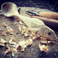 Roughed out fish spoon #woodspoon #greenwoodwork